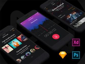 Musical Mobile UI Kit - 30+ экранов для создания музыкальных приложений в Sketch, PS и XD