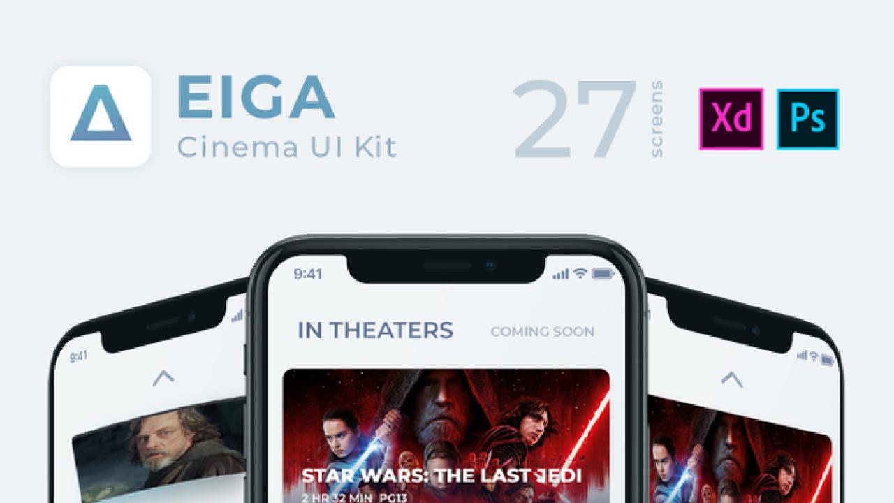 EIGA Cinema UI KIt – 27 экранов iOS подходящих для кинотеатра