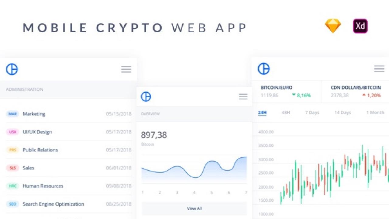 Mobile Crypto Web UI Kit – 48 мобильных экранов криптовалютного веб-приложения для Adobe XD и Sketch