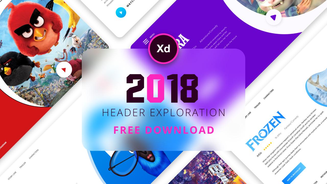 10 бесплатных шаблон головной секции сайта про кино сделанные в Adobe XD 2018