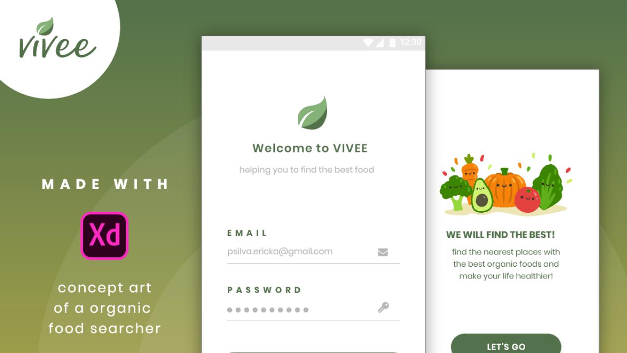 Vivee – Мобильное приложение для поиска органической еды сделанное в Adobe XD