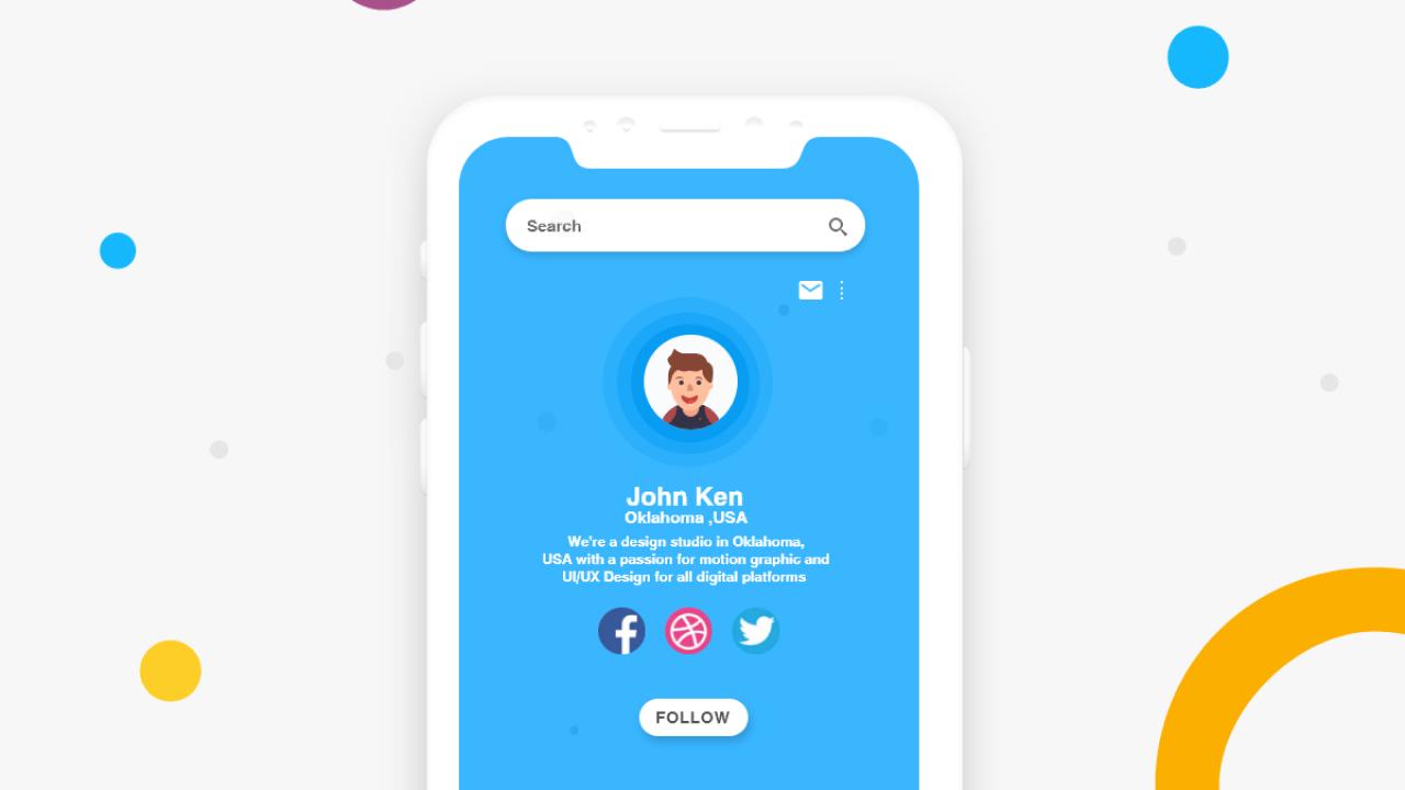 Экран профиля – Бесплатный iOS UI Kit для Adobe XD