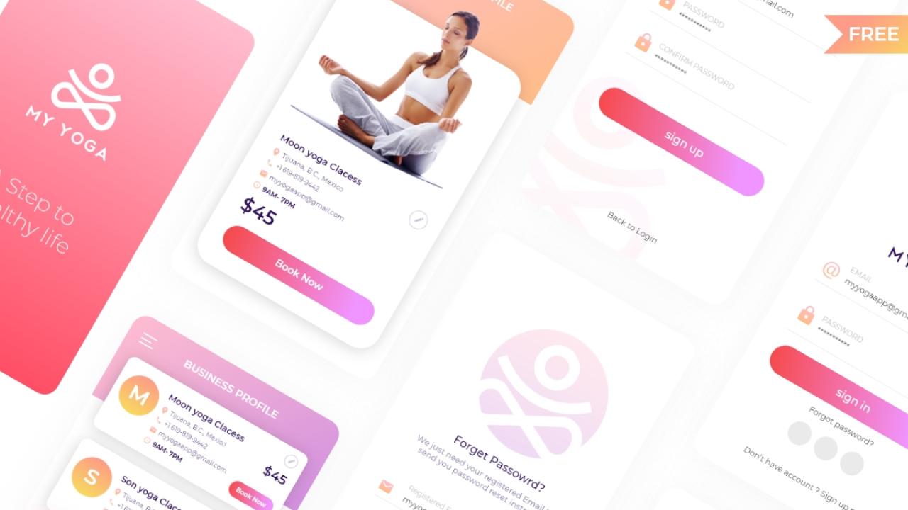 Yoga App – Бесплатный UI Kit приложения для занятий йогой сделанный в Adobe XD