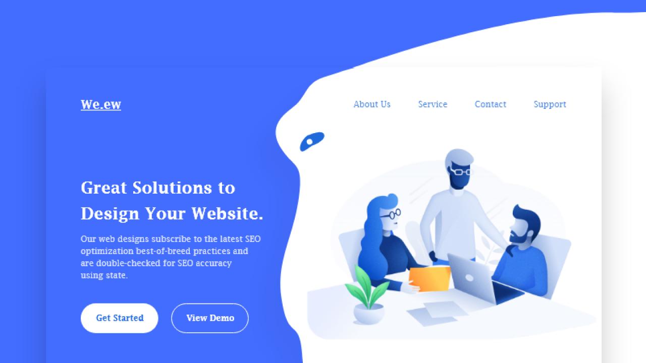 Концепция головного экрана сайта дизайнерской команды, разработанный в Adobe XD