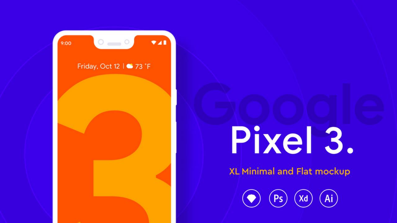 Бесплатный мокап Google Pixel 3 XL [XD, Sketch, PSD, AI]