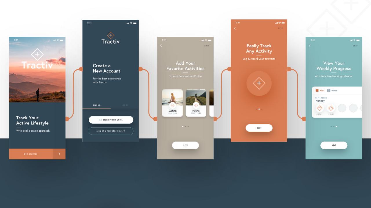Tractiv – Бесплатный UI Kit для Adobe XD
