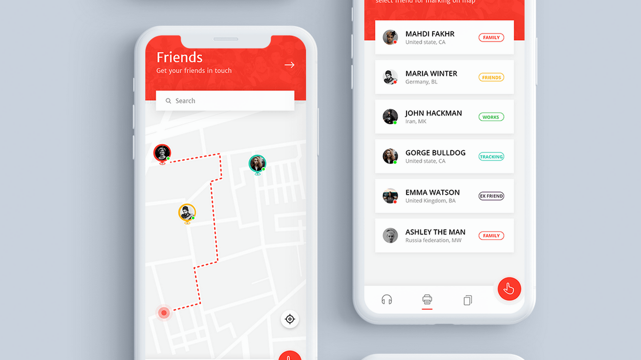 Концепция iOS приложения для обнаружения друзей на карте
