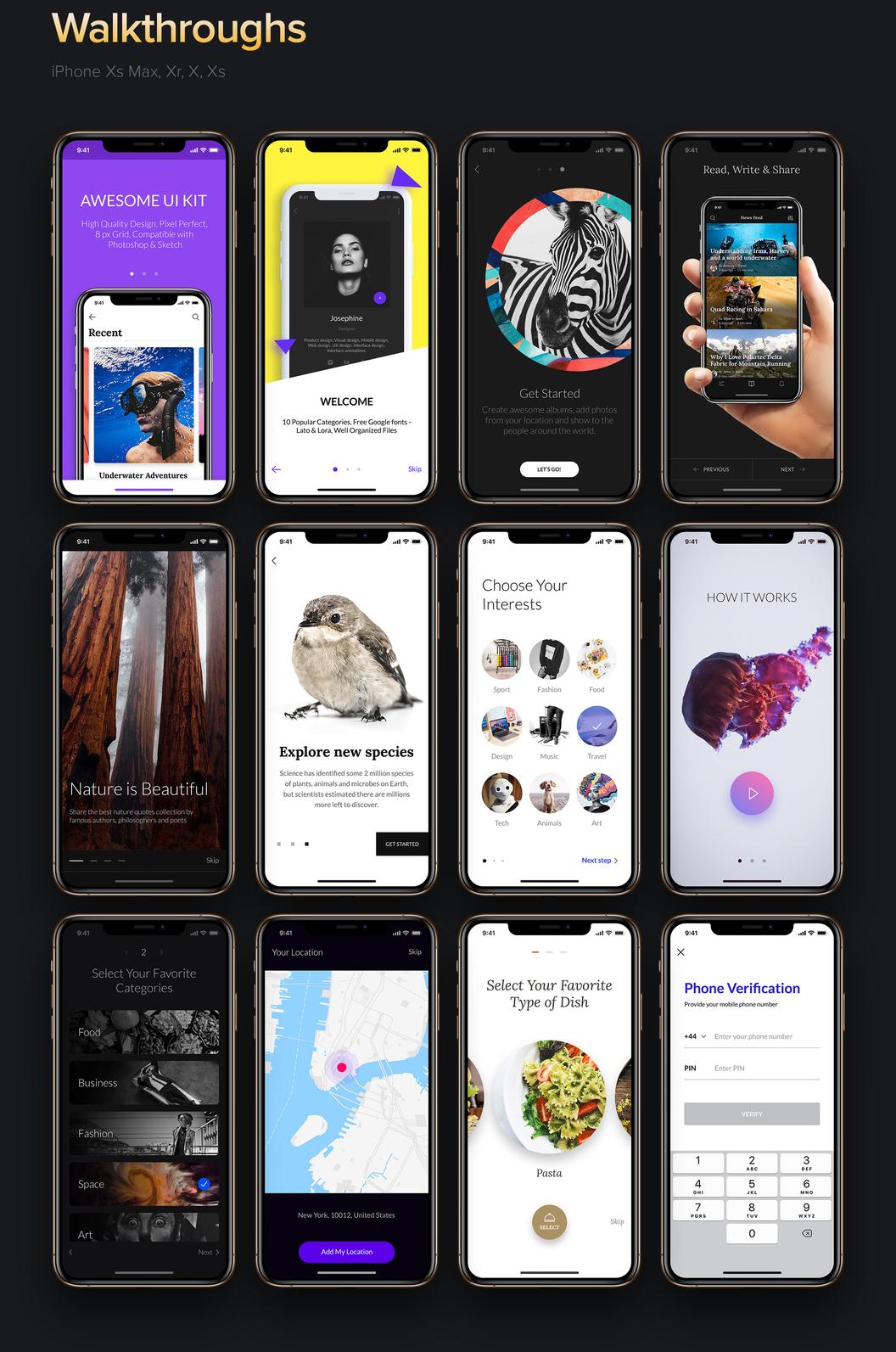 Awesome iOS UI Kit – 120+ премиум шаблонов iOS и 1100+ элементов UI