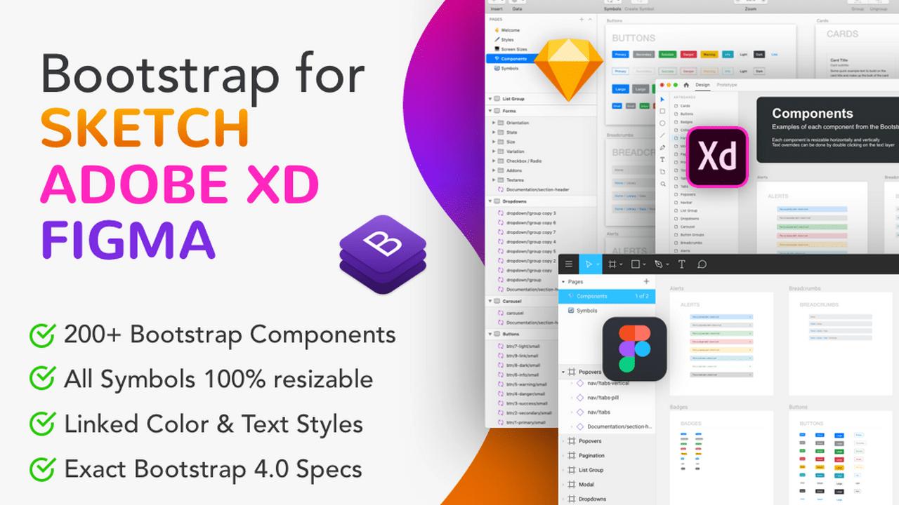 Bootstrap UI Kit для Adobe XD, Sketch, Figma