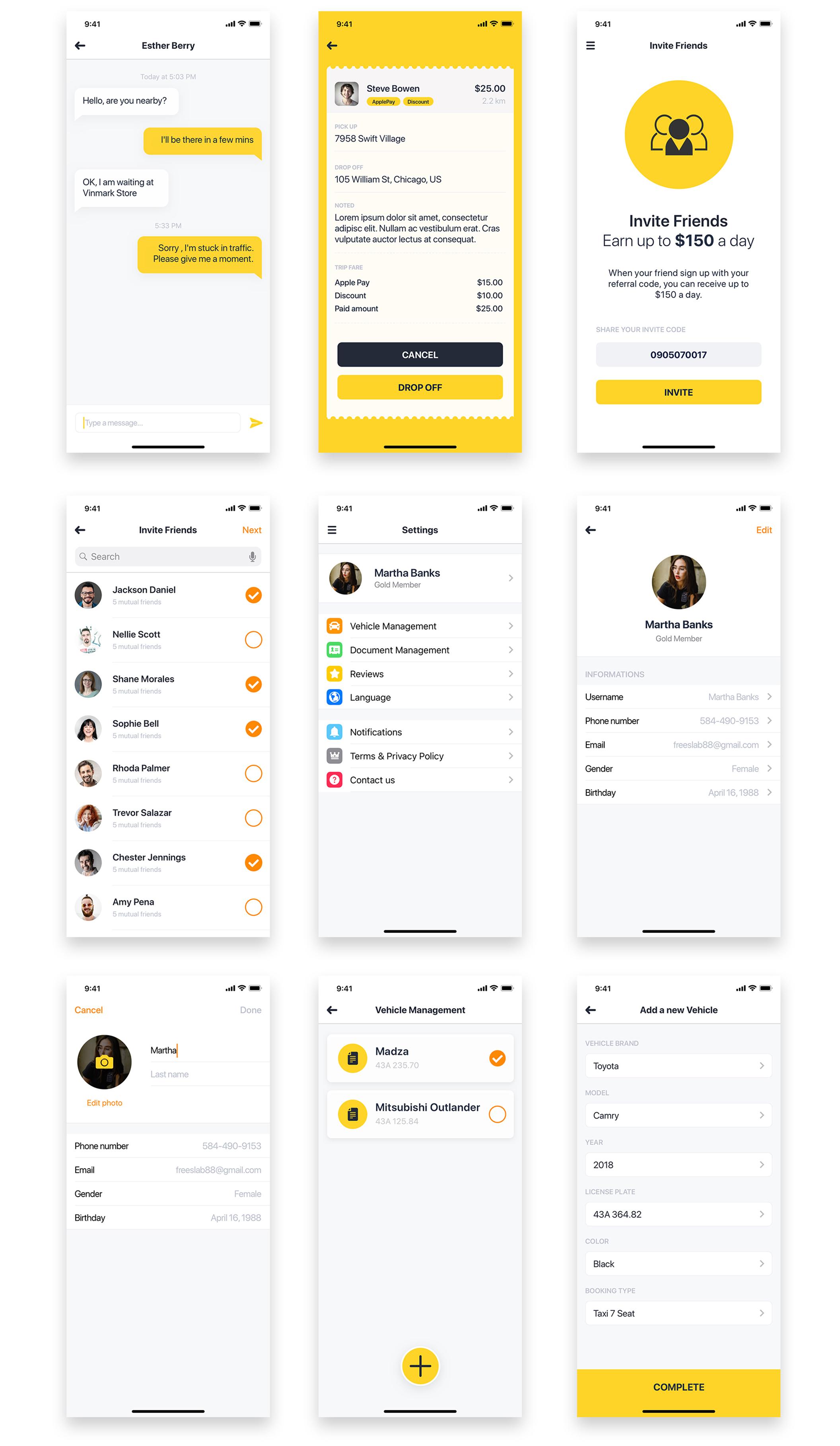 Aber Driver UI Kit – Мобильный UI Kit для заказа водителя