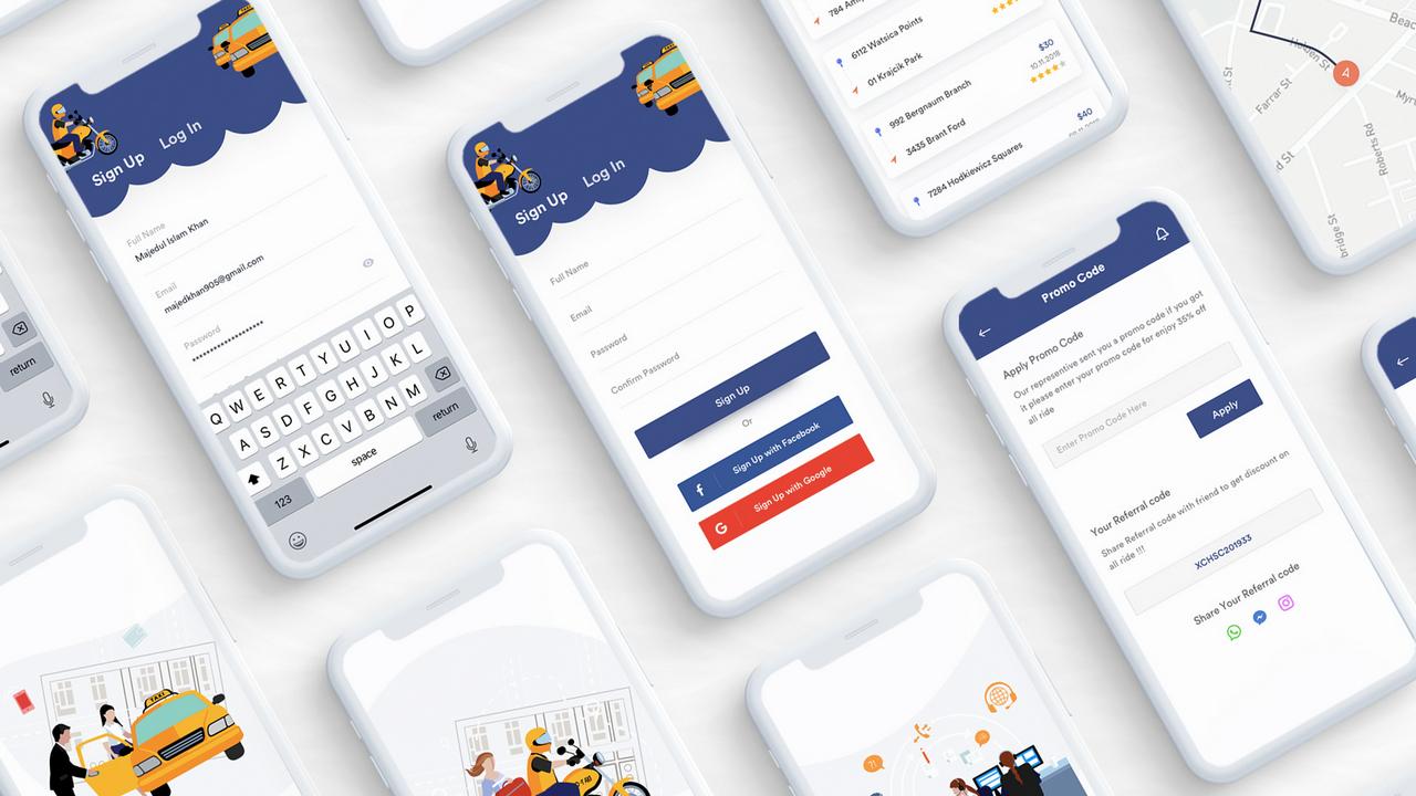 Bingo App UI Kit – Бронирование такси и совместные поездки, UI Kit для Adobe Xd, Photoshop, Sketch и Figma