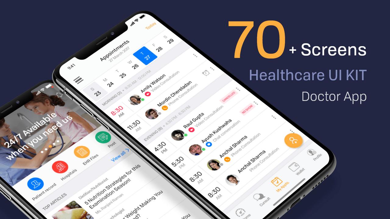 Healthcare Doctor App – iOS UI Kit для Adobe XD из 70+ экранов мобильного медицинского обслуживания