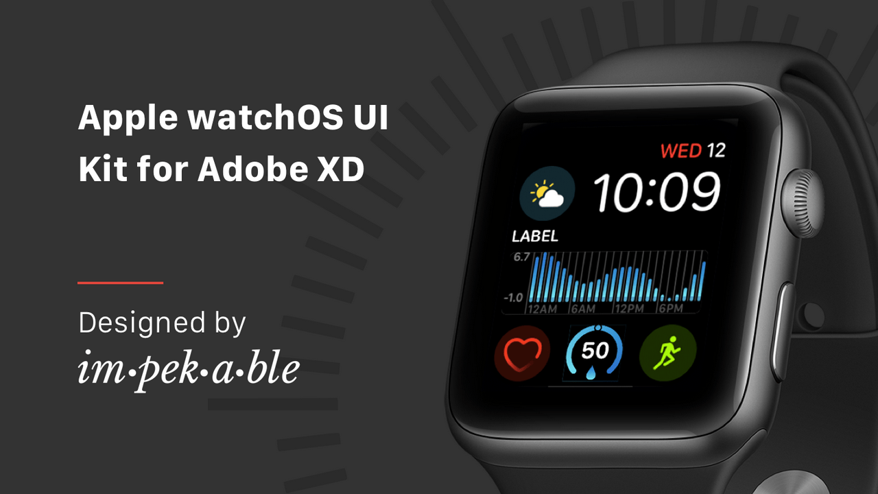Apple watchOS UI Kit для Adobe XD, Photoshop и Sketch