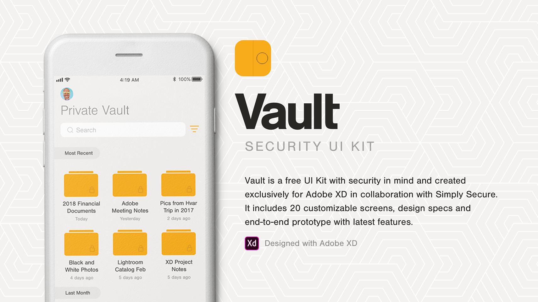 Vault UI Kit для Adobe XD