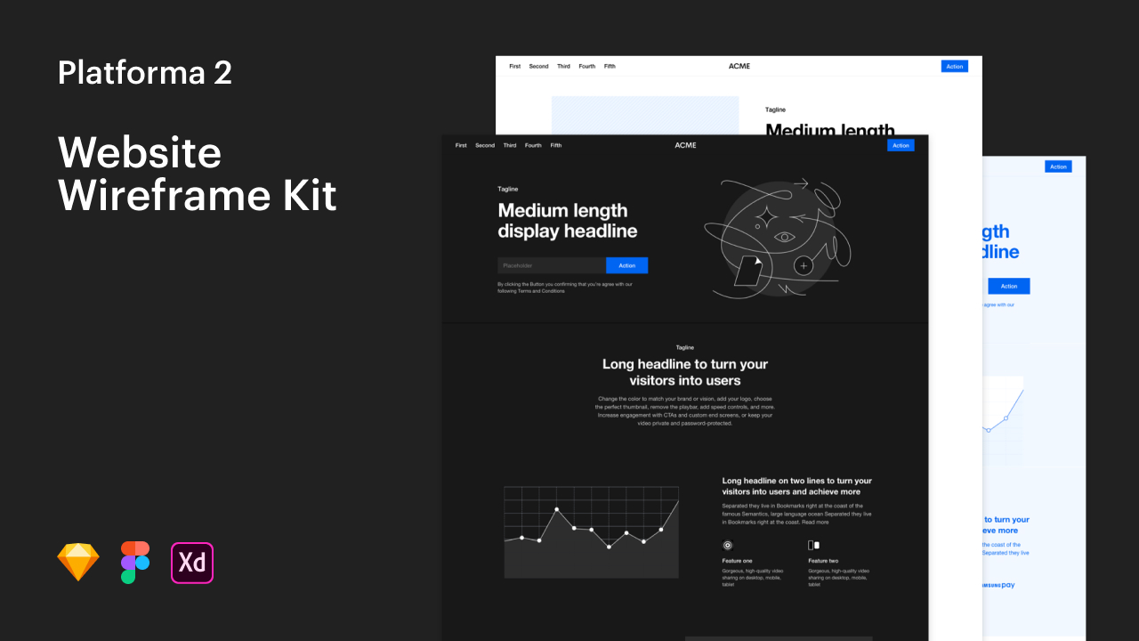 Platforma 2: Web Wireframe Kit для XD, Figma, Sketch