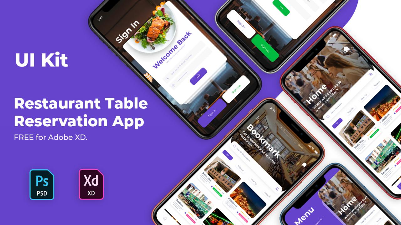 Бесплатный Ui Kit приложения для бронирования столиков в ресторане