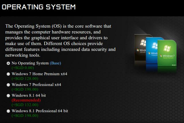 OS price based on Aftershock PC website