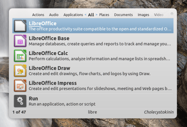 Typing 'libre' shows all the options for LibreOffice