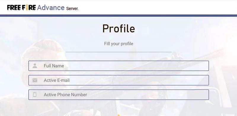 Free Fire OB28 Advance Server User Profile