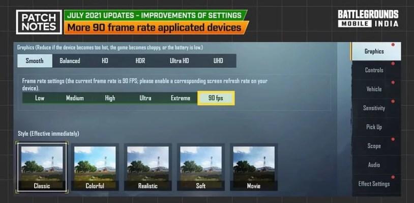 BGMI 1.5 Update - New Graphics Settings 90 FPS Option