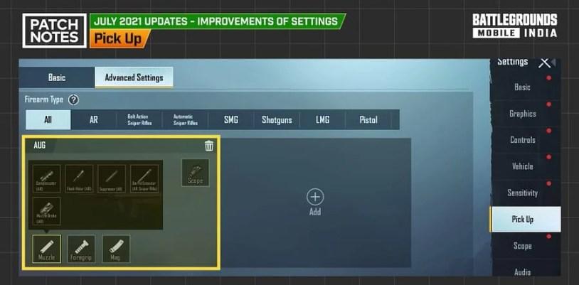 BGMI 1.5 Update - Preset Weapon Attachment Settings