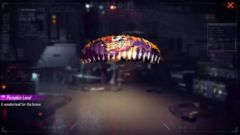 Free Fire redeem code for pumpkin land parachute