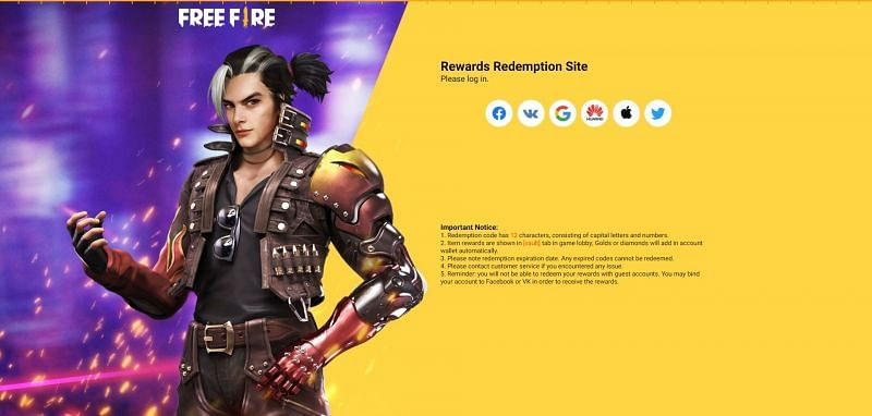 Free Fire redeem code redemption process