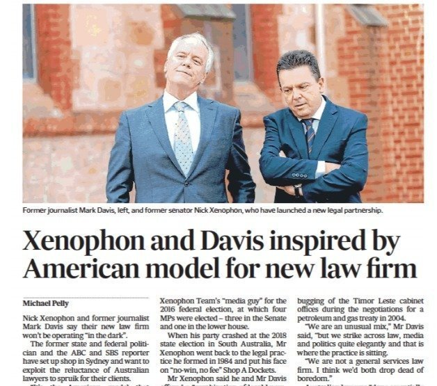 Xenophon and Davis inspired by American model for new law firm3
