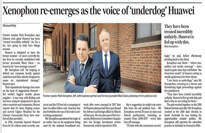 Xenophon re-emerges as the voice of 'underdog' Huawei