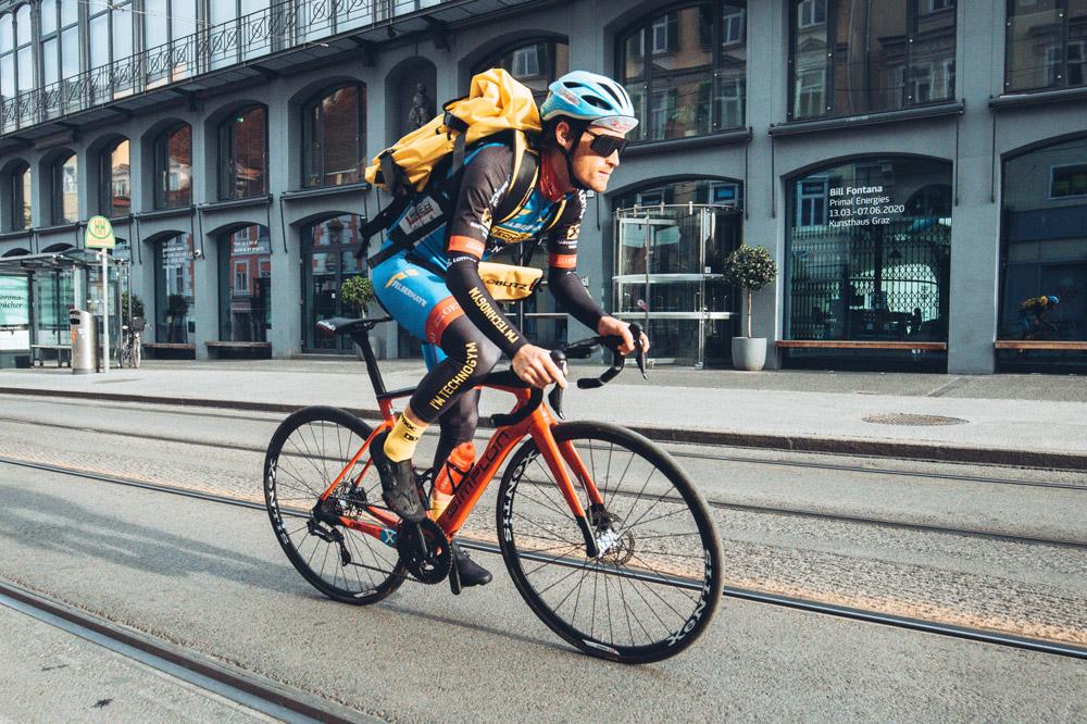 Stephan Rabitsch ist wohl der schnellste Fahrradkurier Österreichs