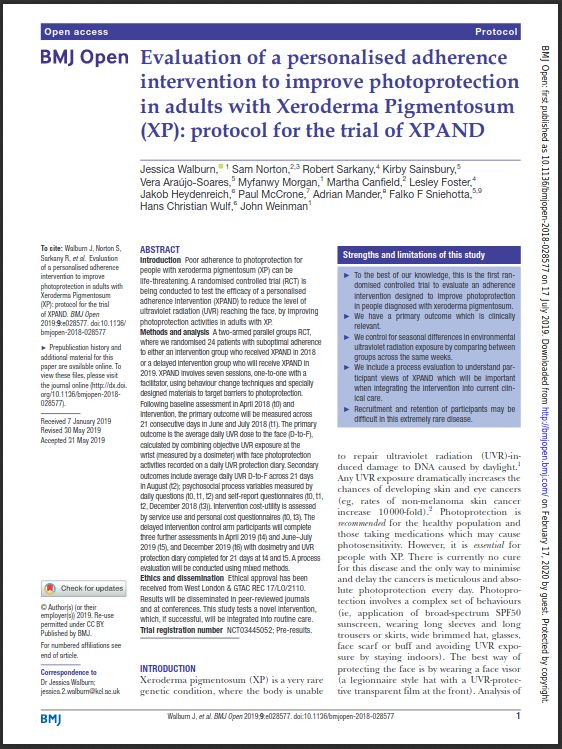 Dermatology Evaluation of a personalised adherence intervention to improve photoprotection in adults with Xeroderma Pigmentosum (XP): protocol for the trial of XPAND