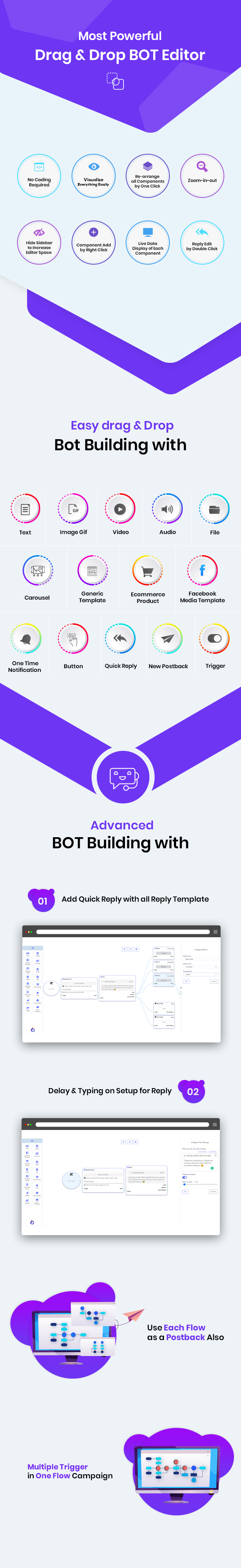 FLOW BUILDER : VISUAL DRAG & DROP FACEBOOK CHATBOT BUILDER A XEROCHAT ADD-ON FREE