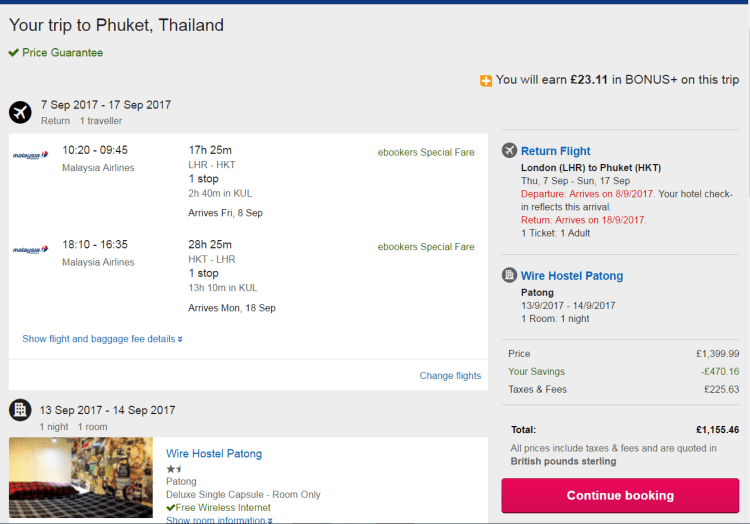 Ebookers pricing example to Phuket, Thailand