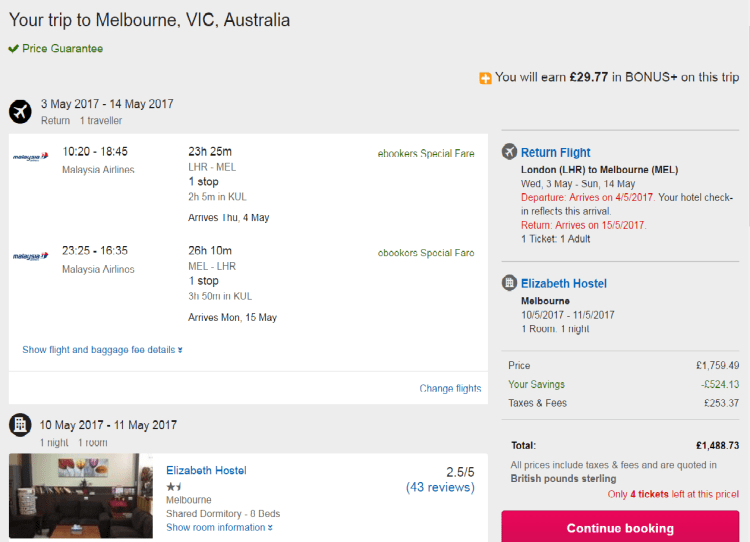 Ebookers pricing example to Australia