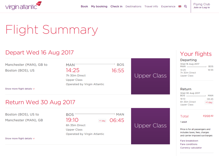 Virgin Atlantic screenshot - boston offer