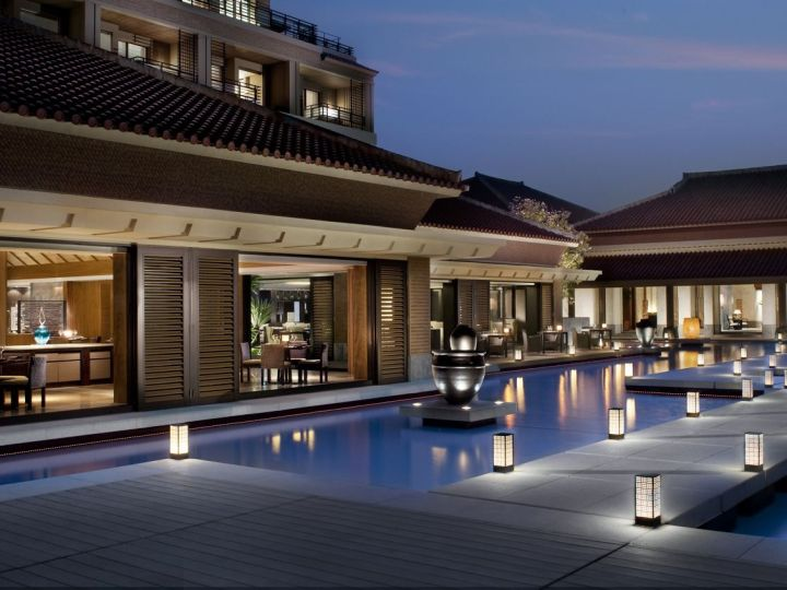 External view at sunset of Ritz Carlton Okinawa