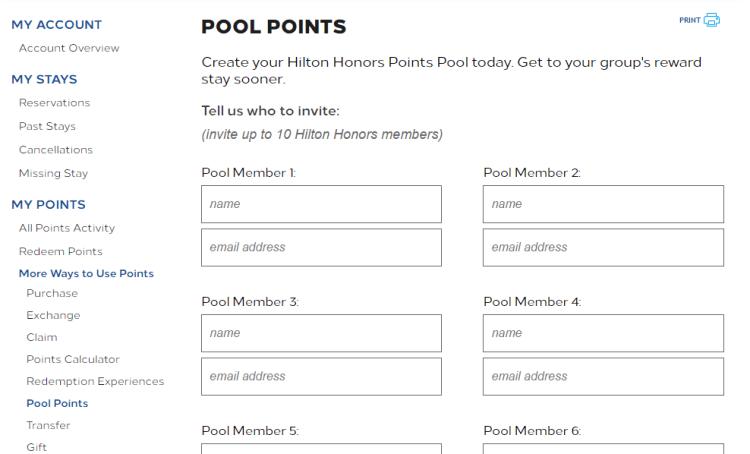 Pool points hilton