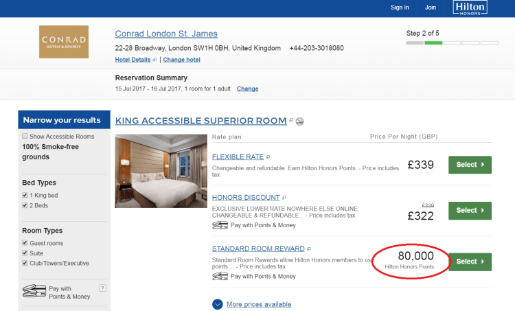 Conrad St James pricing screenshot