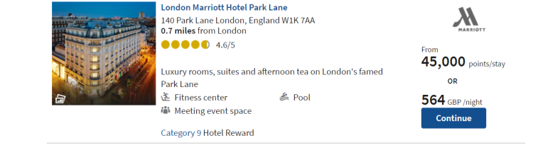 London Marriott Hotel Park Lane pricing options