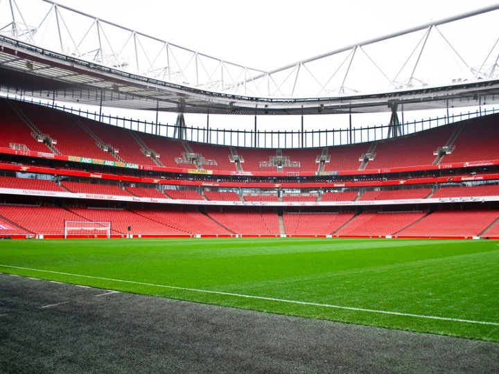 Sweeping shot of Arsenal's Emirates stadium in North London