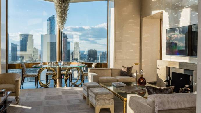 Living room with New York views at the Four Seasons New York