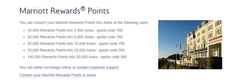 marriott to avios transfer ratios