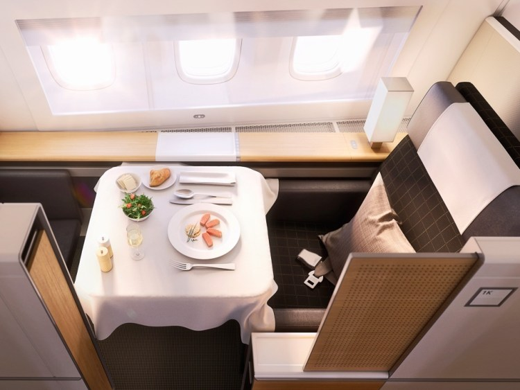 SWISS First Class seat aerial view