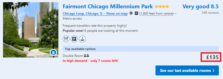 Accor 30% off fairmont chicago booking.com example