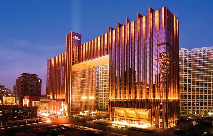 External shot of the Fairmont Beijing at night