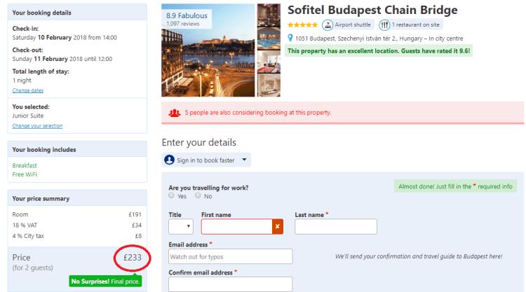 sofitel budapest 30% booking.com example