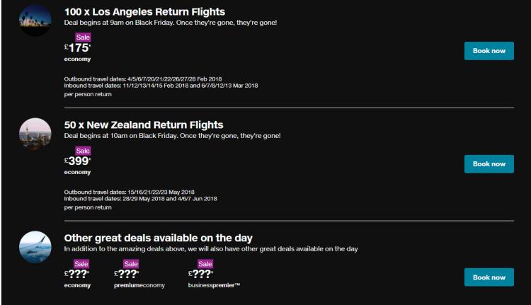 Air New Zealand Black Friday specials