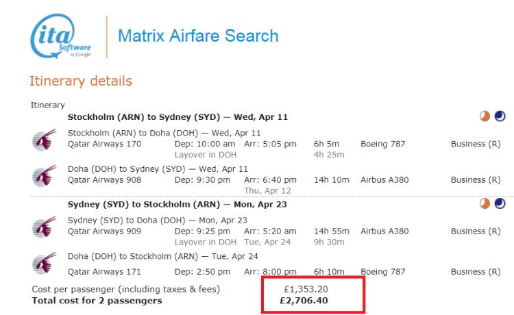 Stockholm to Sydney for £1300