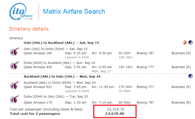 Oslo to Auckland for £1320