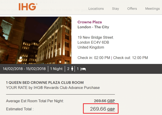 Pricing example at the Crowne Plaza London - The City
